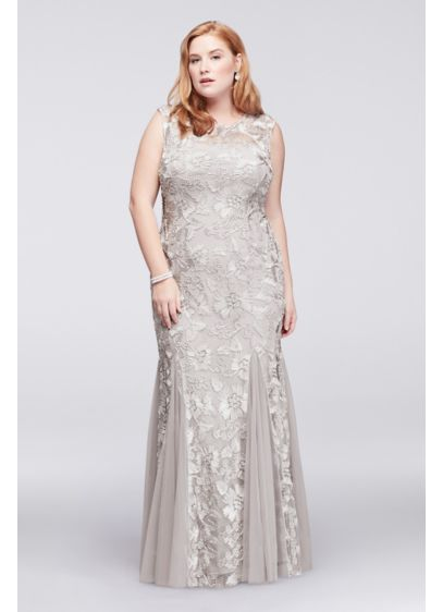 3e60f56d875 Embroidered Tulle Plus Size Dress with Cap Sleeves. 417152. Long Mermaid   Trumpet Wedding Dress - Alex Evenings