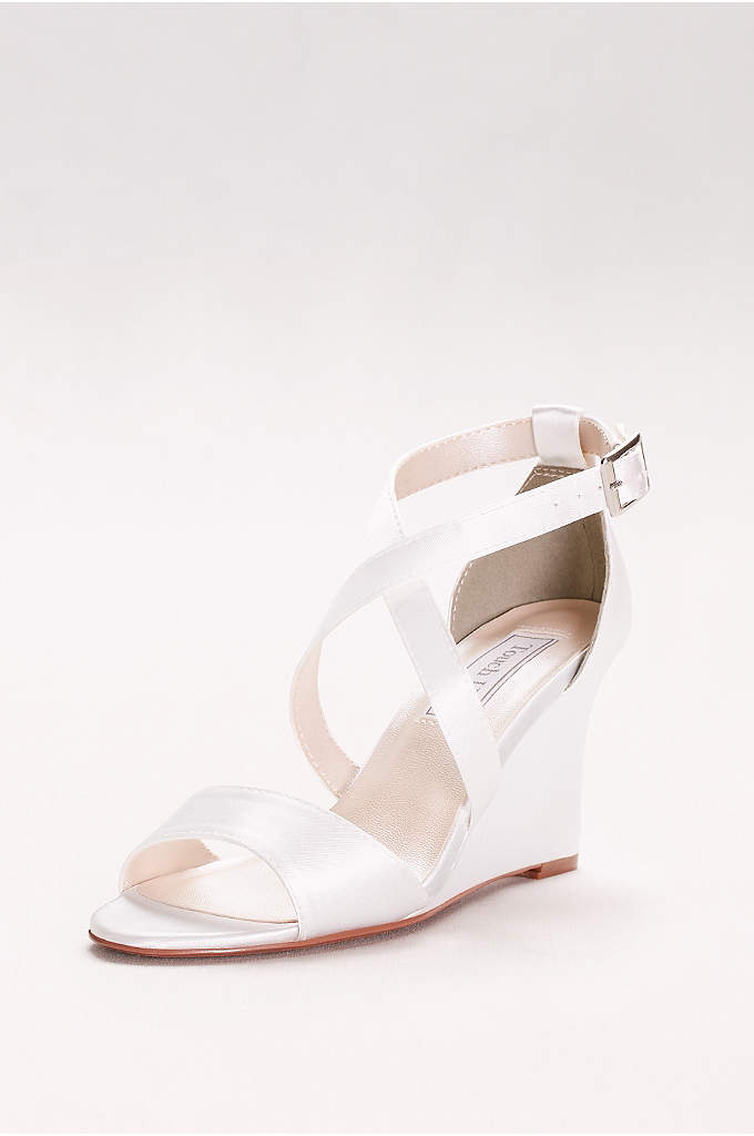Jenna Dyeable Wedge Sandals - Made from a dyeable satin, these crisscrossing wedges