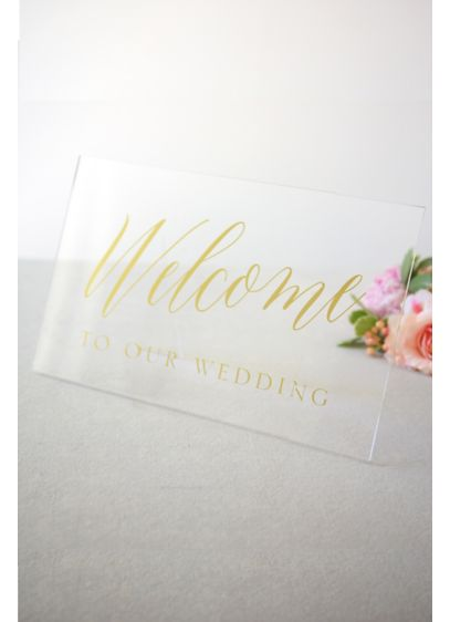 (Clear and Gold Foil Welcome Sign)