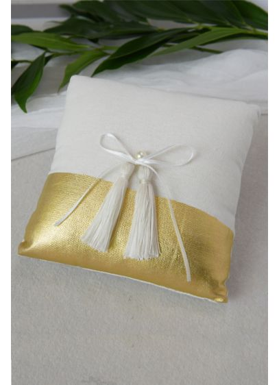 Metallic-Dipped Ring Pillow with Bow - Topped with a pretty bow, this gold-dipped pillow