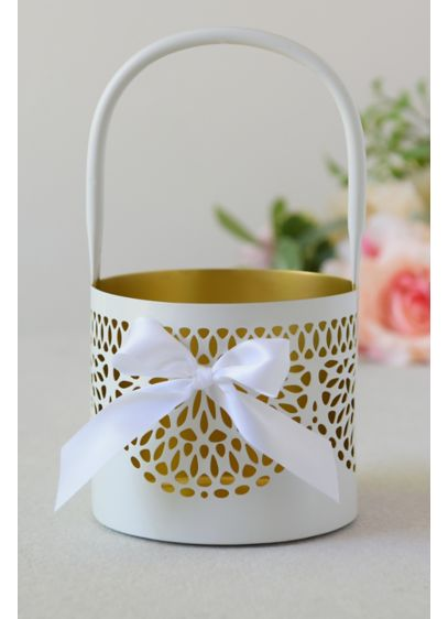 Metallic-Accented Flower Basket with Bow - Adorned with a pretty bow, this gold-accented basket