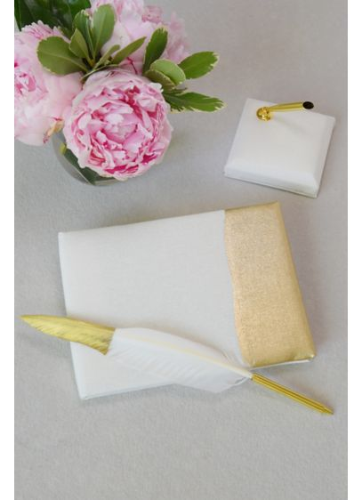 Metallic-Dipped Guest Book and Pen - Pair this gold-dipped book and pen with some