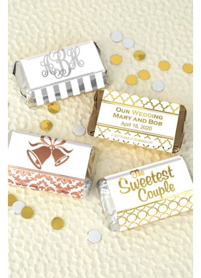 Metallic Foil Hershey's Miniatures Favors - Personalize your wedding with a sweet treat! These