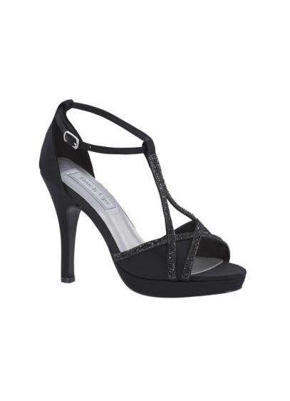 Touch Ups Black (Harlow Shimmer Peep-Toe Heels with Rhinestones)