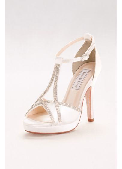 Harlow Dyeable Peep-Toe Heels with Rhinestones - Sophisticated and strappy, these dyeable platform heels dress