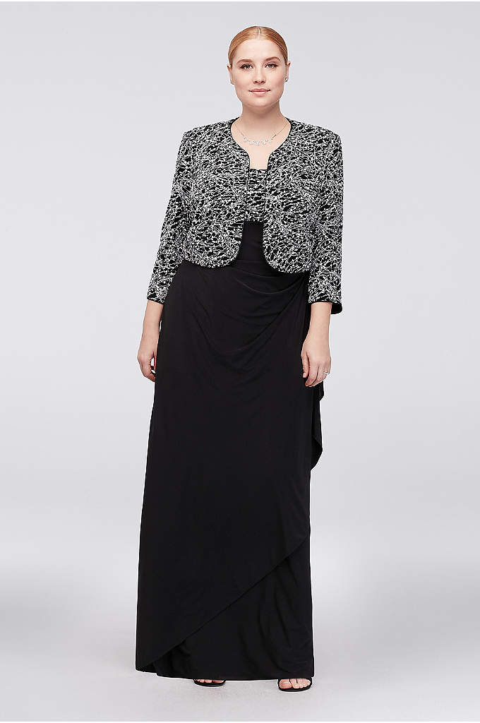 Glitter Knit and Jersey Plus Size Gown and - With flattering ruching, a side flounce, and a