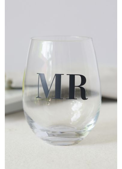 Black (Mr and Mrs Stemless Wine Glasses)