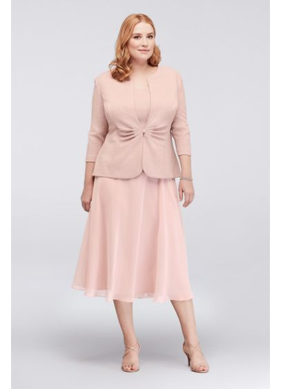 Popover Glitter Jacquard Plus Size Jacket Dress