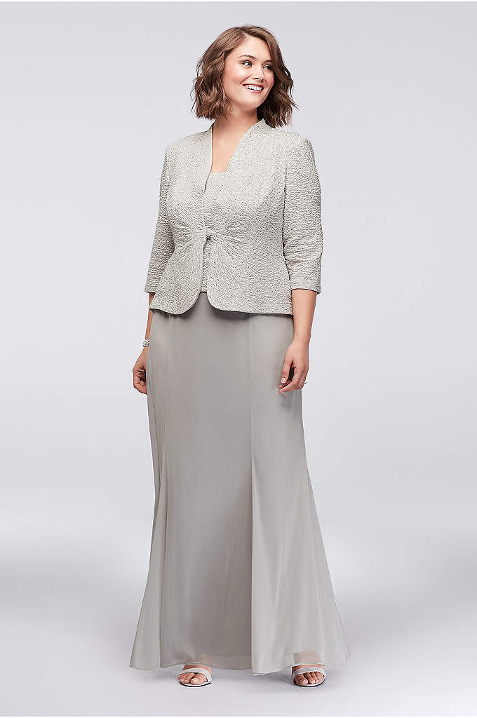 3/4 Sleeve Jacquard Jacket Plus Size Dress - The popover tank on this timeless chiffon plus-size