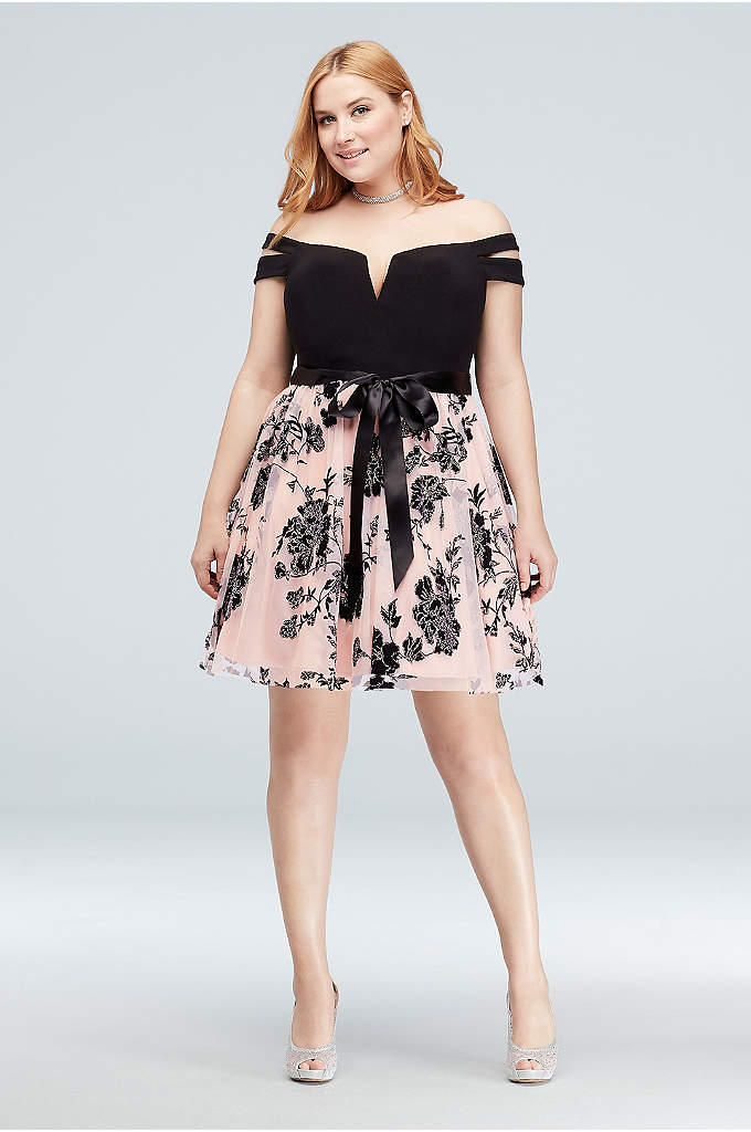 Split Sleeve Plus Size Dress with Satin Sash - The plunging, off-the-shoulder split-sleeve bodice of this fit-and-flare