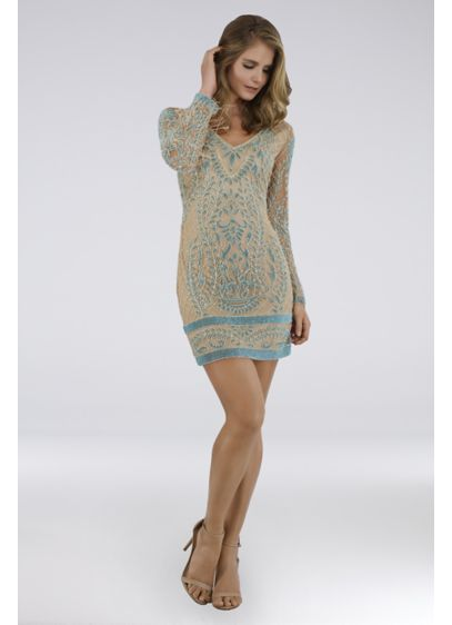 Short Sheath Long Sleeves Cocktail and Party Dress - Lara