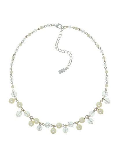 Suspended Pearl and Crystal Beaded Necklace - Wedding Accessories