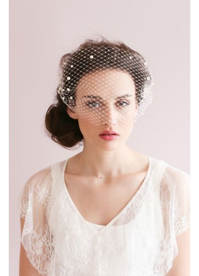 Adorned Pearl Bandeau Birdcage Veil - Modern romance meets vintage glam with this bandeau