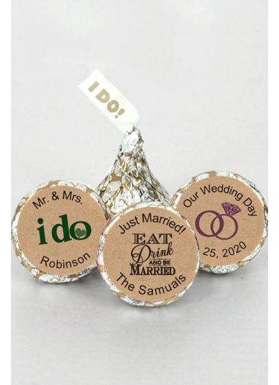 Personalized I DO Kraft Silver and Gold Kisses - Wedding Gifts & Decorations