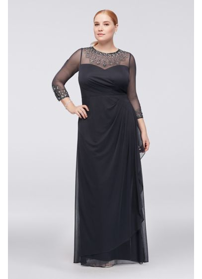 Beaded Illusion 3/4 Sleeve Mesh Plus Size Gown - Elegantly beaded illusion 3/4-sleeves and a high neckline