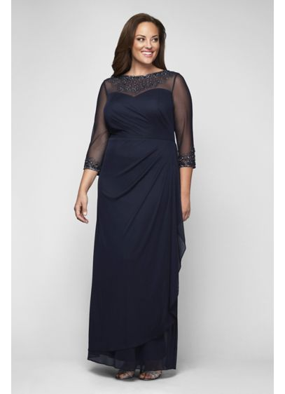 Beaded Illusion 3/4 Sleeve Mesh Plus Size Gown | David\'s Bridal