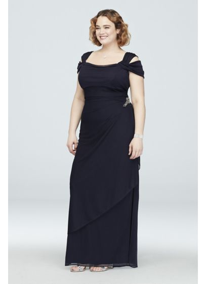 Cold-Shoulder Plus Size Cowl Neck Cascade Dress - Cold-shoulder cap sleeves and a cowlneck add detail