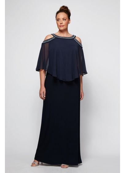 Embellished Cold Shoulder Plus Size Capelet Dress - A sleek floor-length, plus-size gown is topped with