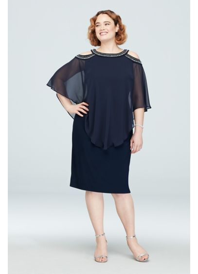 Short Sheath Capelet Cocktail and Party Dress - Alex Evenings