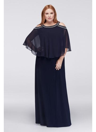 Cold Shoulder Capelet Plus Size Dress With Beading Davids Bridal