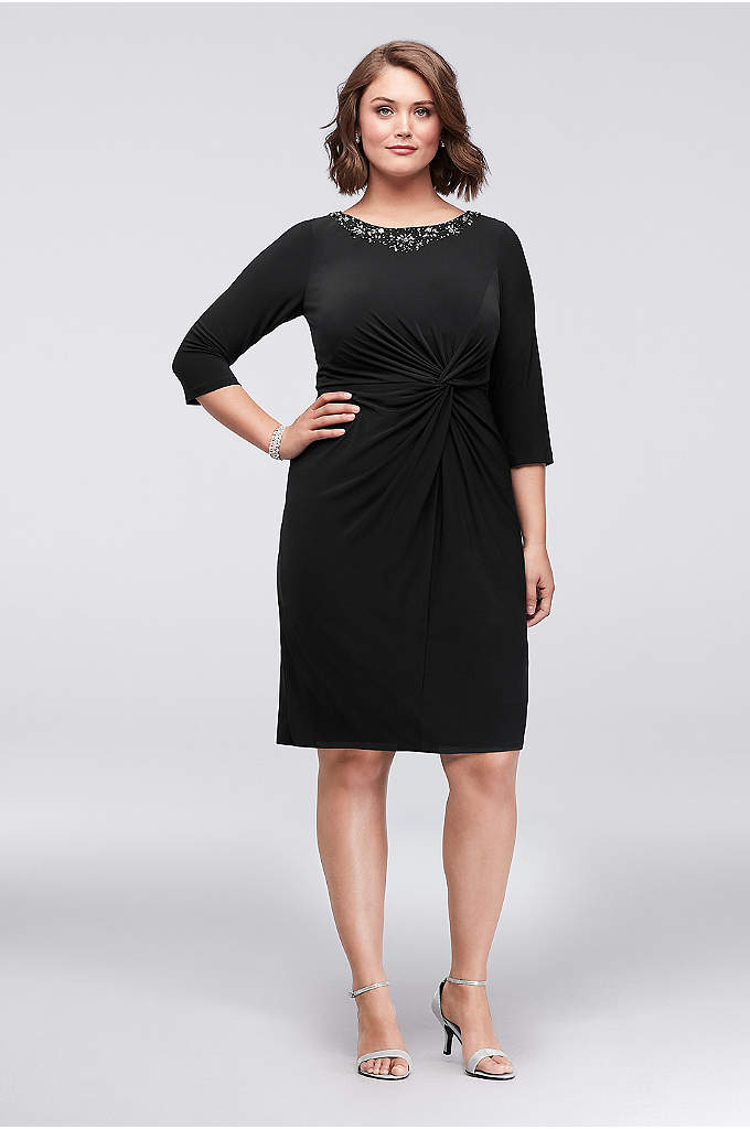 3/4 Sleeve Plus Size Short Sheath with Crystals - Make a statement in this plus-size jersey sheath,