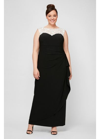 Matte Jersey Plus Size Dress with Embellishment - An embellished high neckline and a ruched cascade