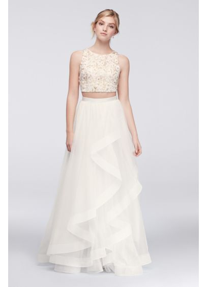 Floral Lace and Cascading Mesh Two-Piece Dress | David\'s Bridal