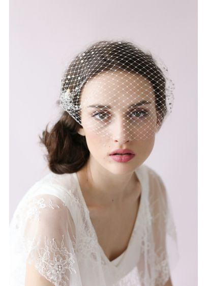 Adorned Rhinestone Bandeau Birdcage Veil - This beautiful, vintage-inspired Russian tulle veil sparkles with