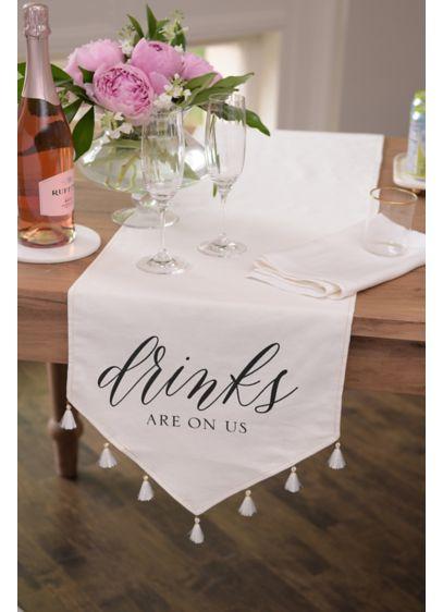 (Tasseled Linen Drinks On Us Table Runner)