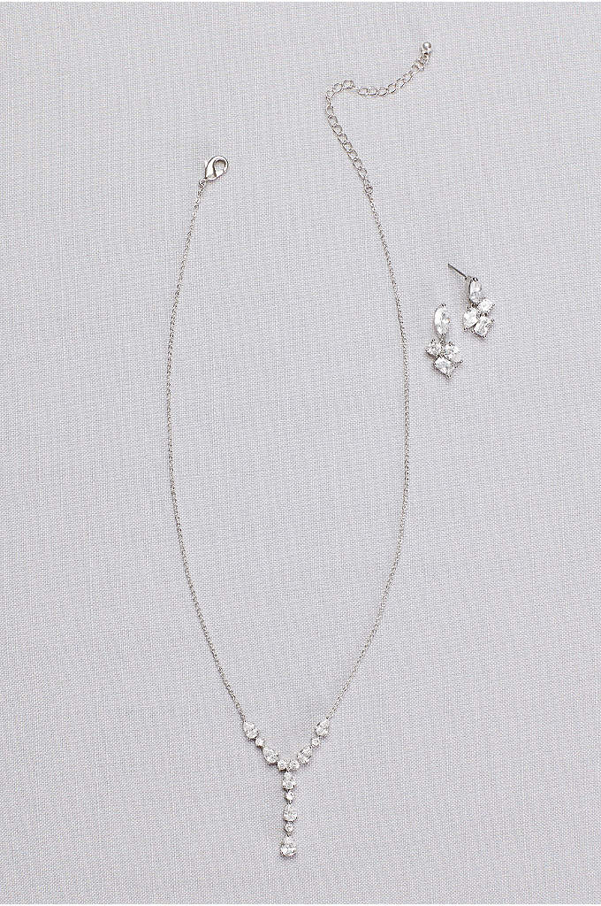 Cubic Zirconia Clusters Y-Necklace and Earring Set - This delicate Y-necklace and post earrings feature clusters