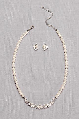 Set de Aretes y Collar de Perlas y Cristales de Zirconia