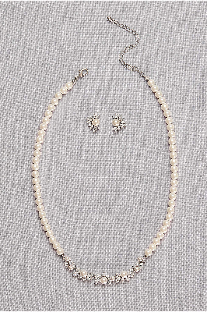 Pearl and Cubic Zirconia Necklace and Earring Set - Waves of glittering cubic zirconia trim this pearl