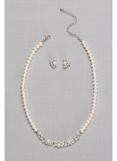 Pearl and Cubic Zirconia Necklace and Earring Set - Wedding Accessories
