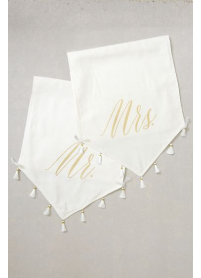 Mr and Mrs Tasseled Sign Set - Wedding Gifts & Decorations