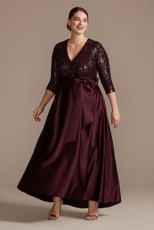 Long Ballgown 3/4 Sleeves Dress - Xscape