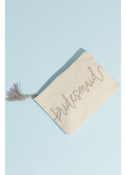 Canvas Script Bridesmaid Pouch with Tassel - Ask your besties to join your bride tribe