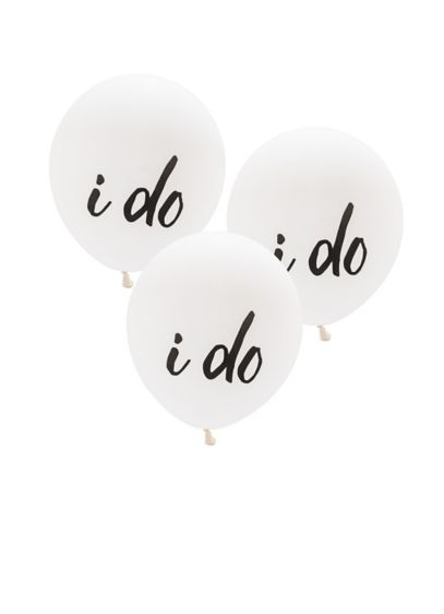 17 Inch White Round I Do Balloons Set of 3 - Wedding Gifts & Decorations