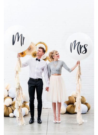 36 Inch Jumbo White Round Mr. and Mrs. Balloons - Wedding Gifts & Decorations
