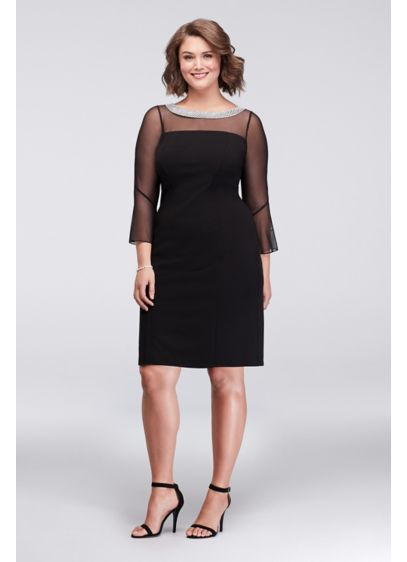 Beaded Collar Plus Size Short Sheath Dress | David\'s Bridal