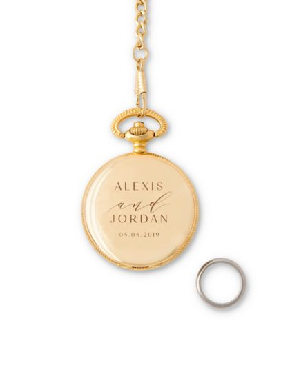 Personalized Pocket Ring Holder with Chain - Fashioned to look like pocket watch case, this