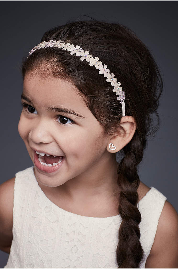 Blooming Flower Girl Headband with Crystal Centers