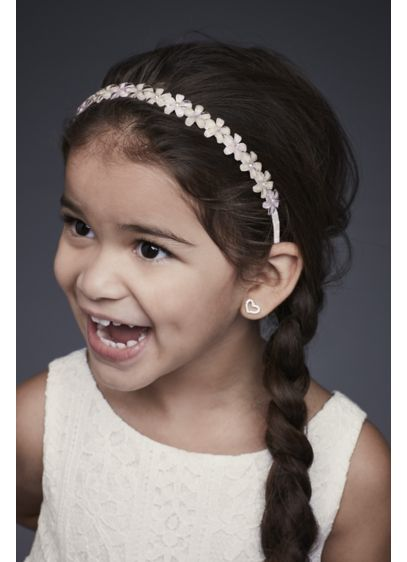 David's Bridal Ivory (Blooming Flower Girl Headband with Crystal Centers)