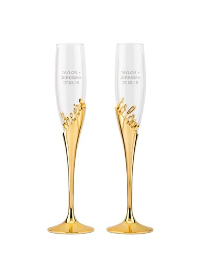 Cheers to Love Gold Champagne Glass Set - This set of two gold-stemmed champagne glasses features