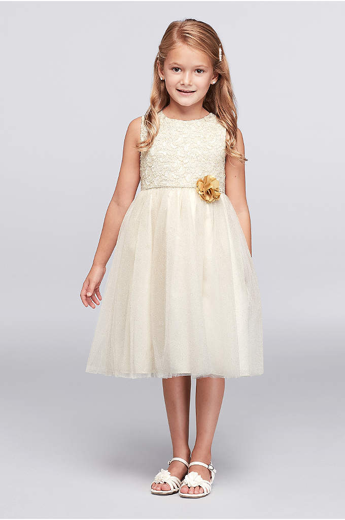 Glitter Lace and Tulle Dress with Flower Accent