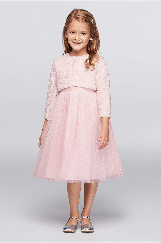 Snowflake Tulle Dress with Fuzzy Cardigan