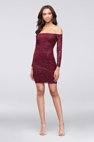 Short Sheath Off the Shoulder Cocktail and Party Dress - My Michelle. Save b555af6f0