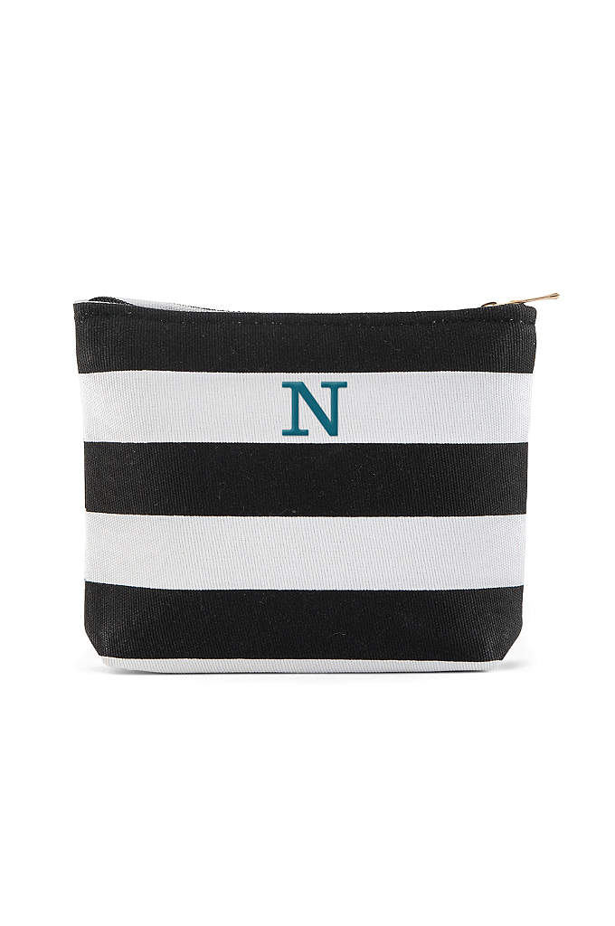 Personalized Bliss Striped Makeup Bag - Here is a cute custom striped personalized makeup