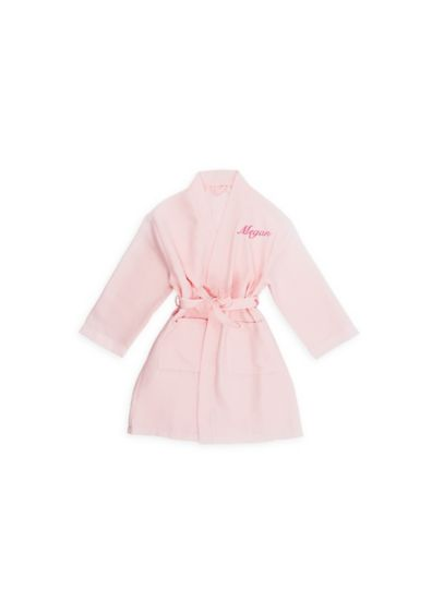 Personalized Little Girl Waffle Kimono Robe - Say thank you to your cute-as-can-be little helper