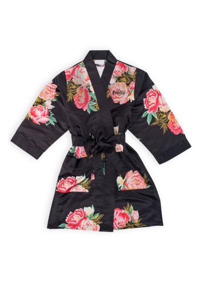 Personalized Blissful Bloom Silky Kimono - Soft and silky, this kimono style robe is