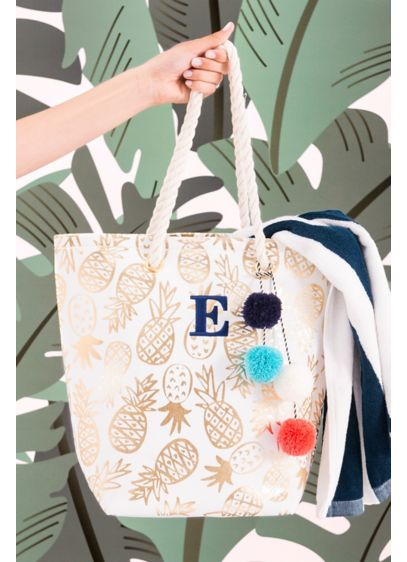 White (Personalized Gold Pineapple Print Canvas Tote)